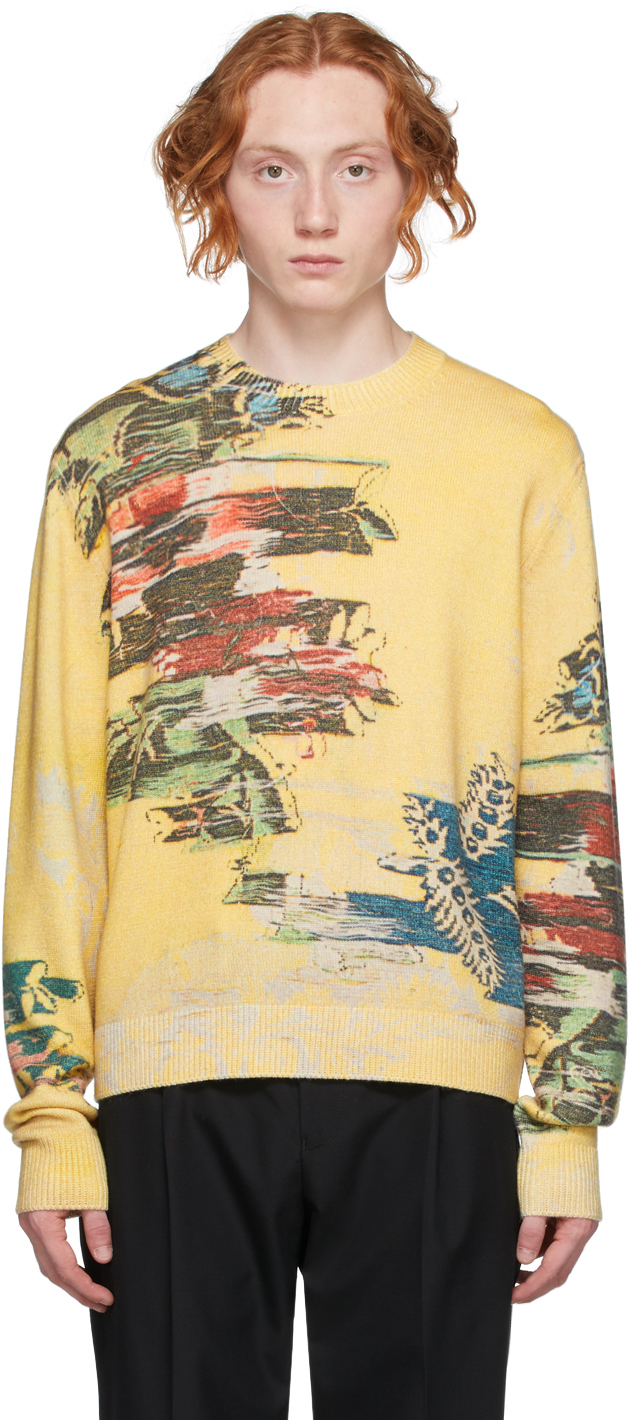 Photo: Dunhill Yellow Abstract Florals Sweater