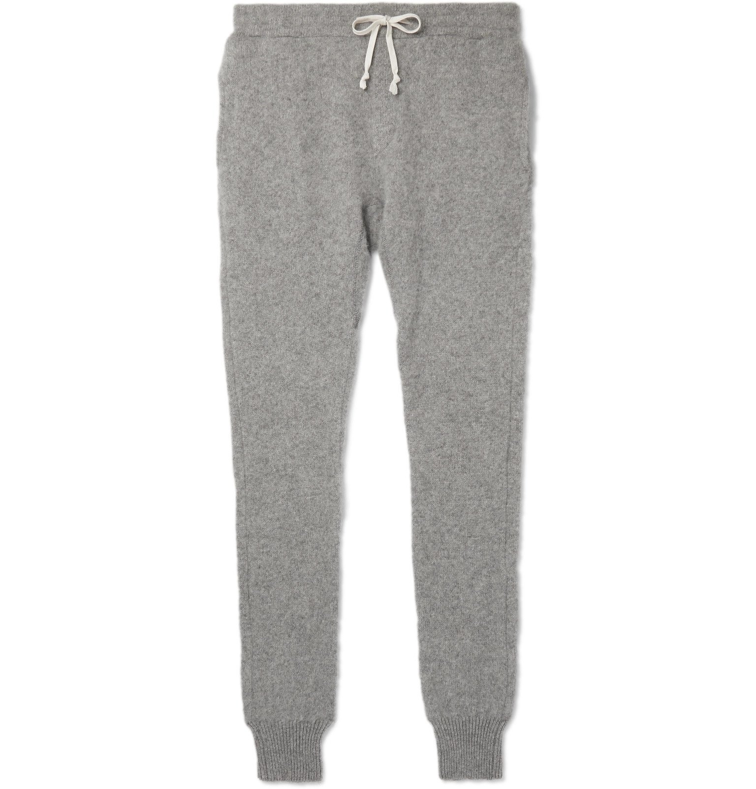 Photo: Secondskin - Slim-Fit Tapered Brushed-Cashmere Sweatpants - Gray