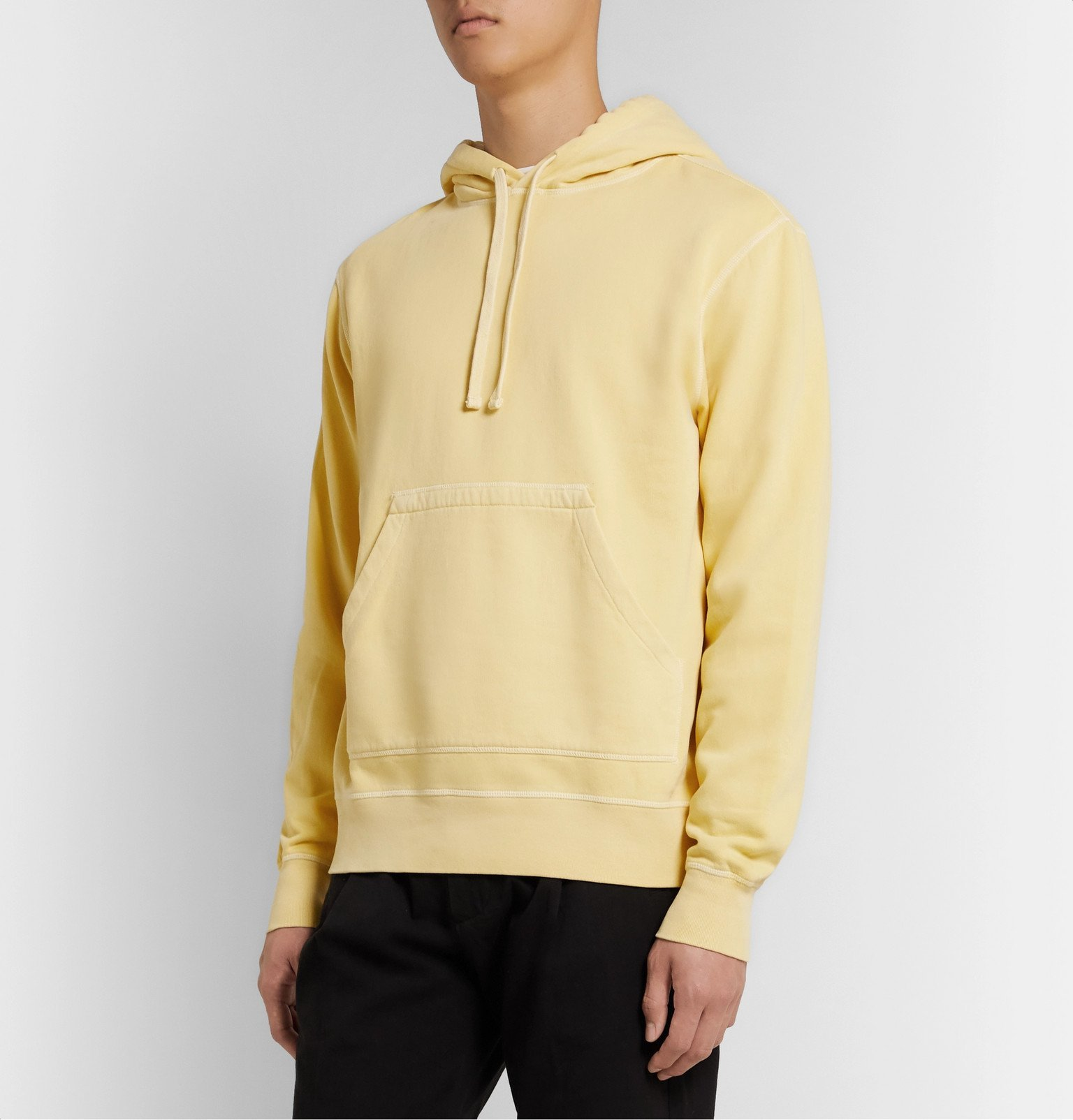Officine Generale - Olivier Garment-Dyed Loopback Cotton-Jersey Hoodie - Yellow