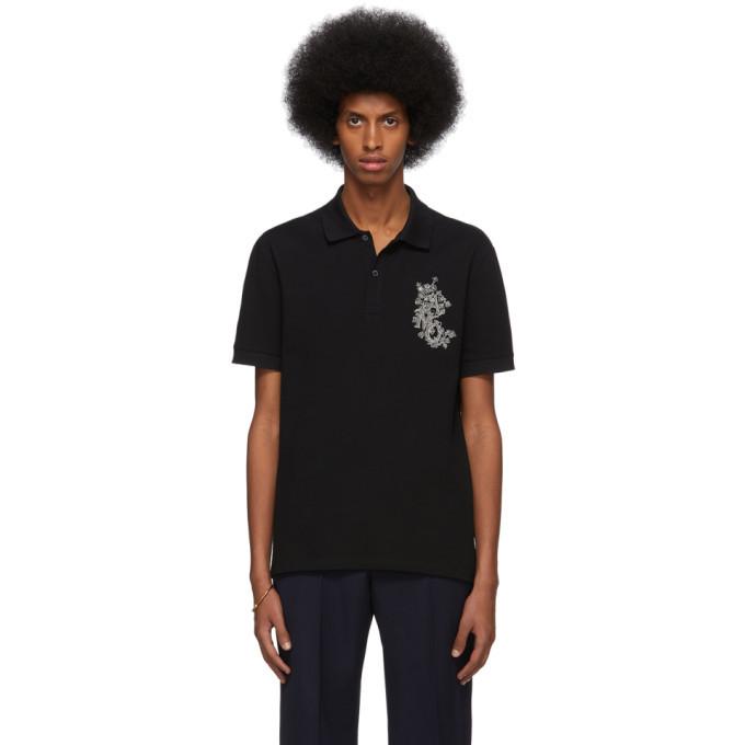 Photo: Alexander McQueen Black Embroidered Logo Polo