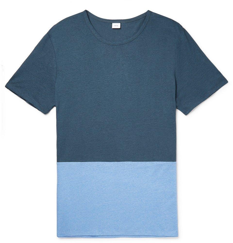 Photo: Onia - Chad Colour-Block Linen and Modal-Blend T-Shirt - Blue