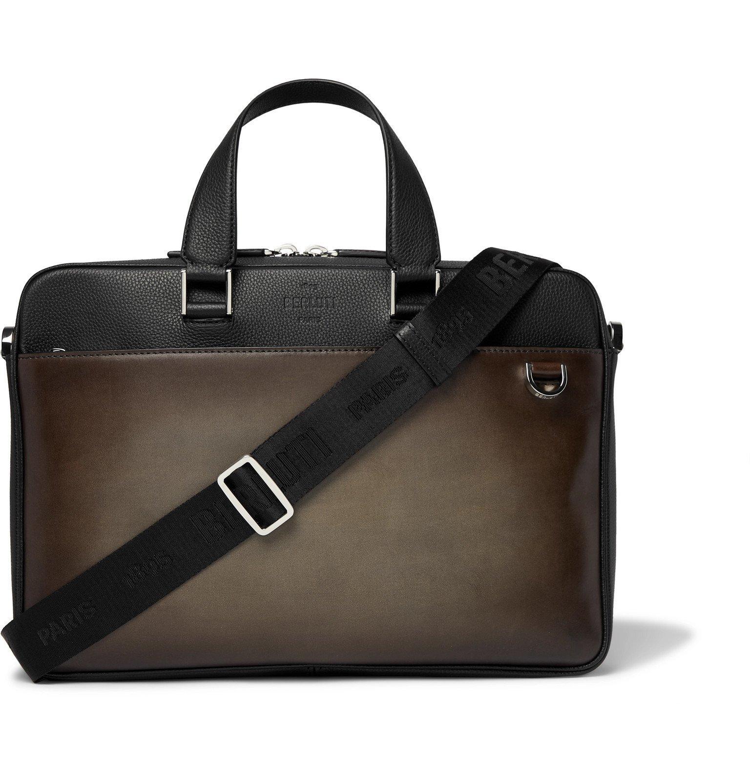 Photo: Berluti - Two-Tone Venezia and Full-Grain Leather Briefcase - Brown