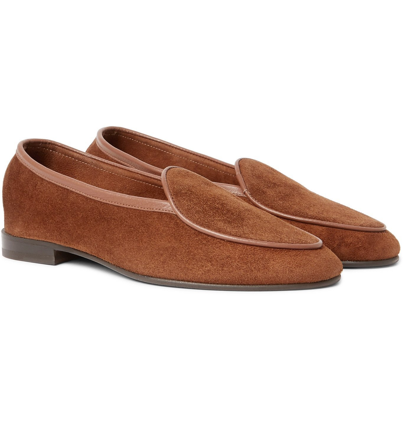 Photo: George Cleverley - Hampton Leather-Trimmed Suede Loafers - Brown
