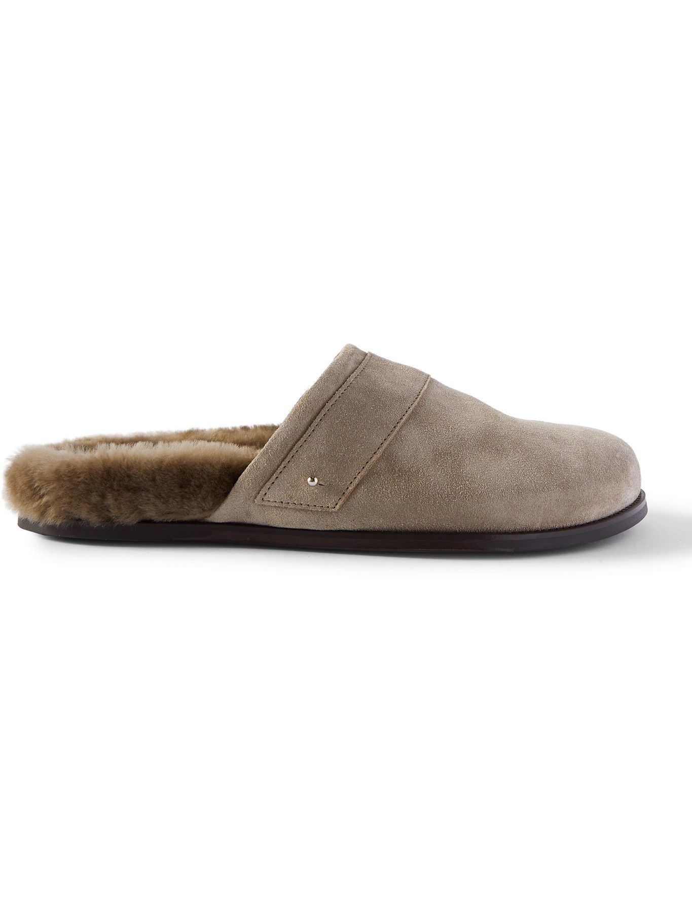Photo: Mr P. - Shearling-Lined Suede Slippers - Brown