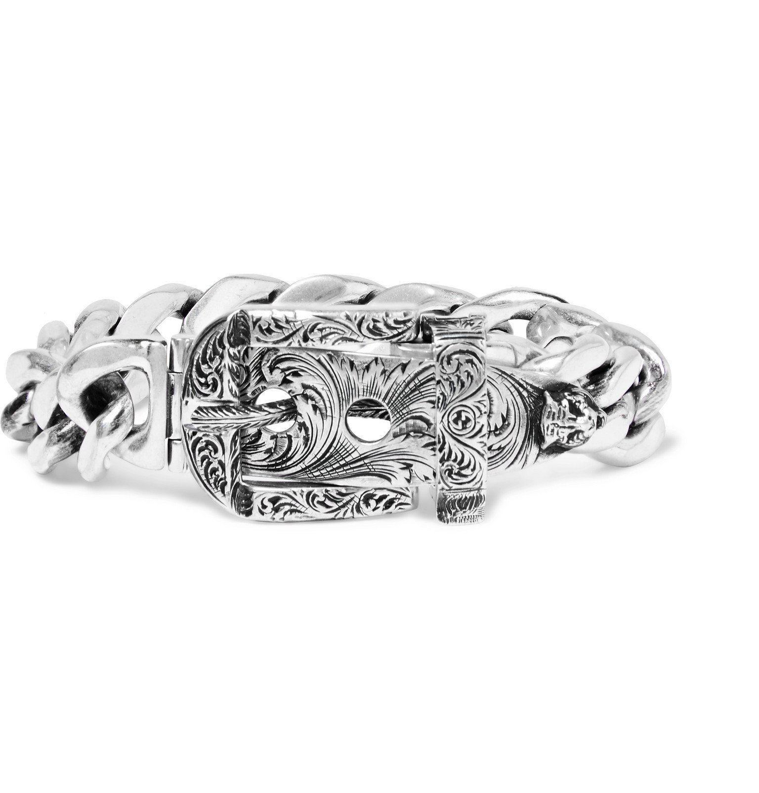 Photo: Gucci - Sterling Silver Buckled Chain Bracelet - Silver
