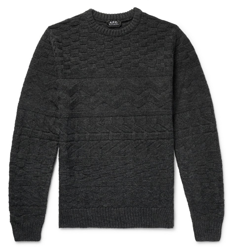 Photo: A.P.C. - Textured Mélange Wool Sweater - Men - Charcoal
