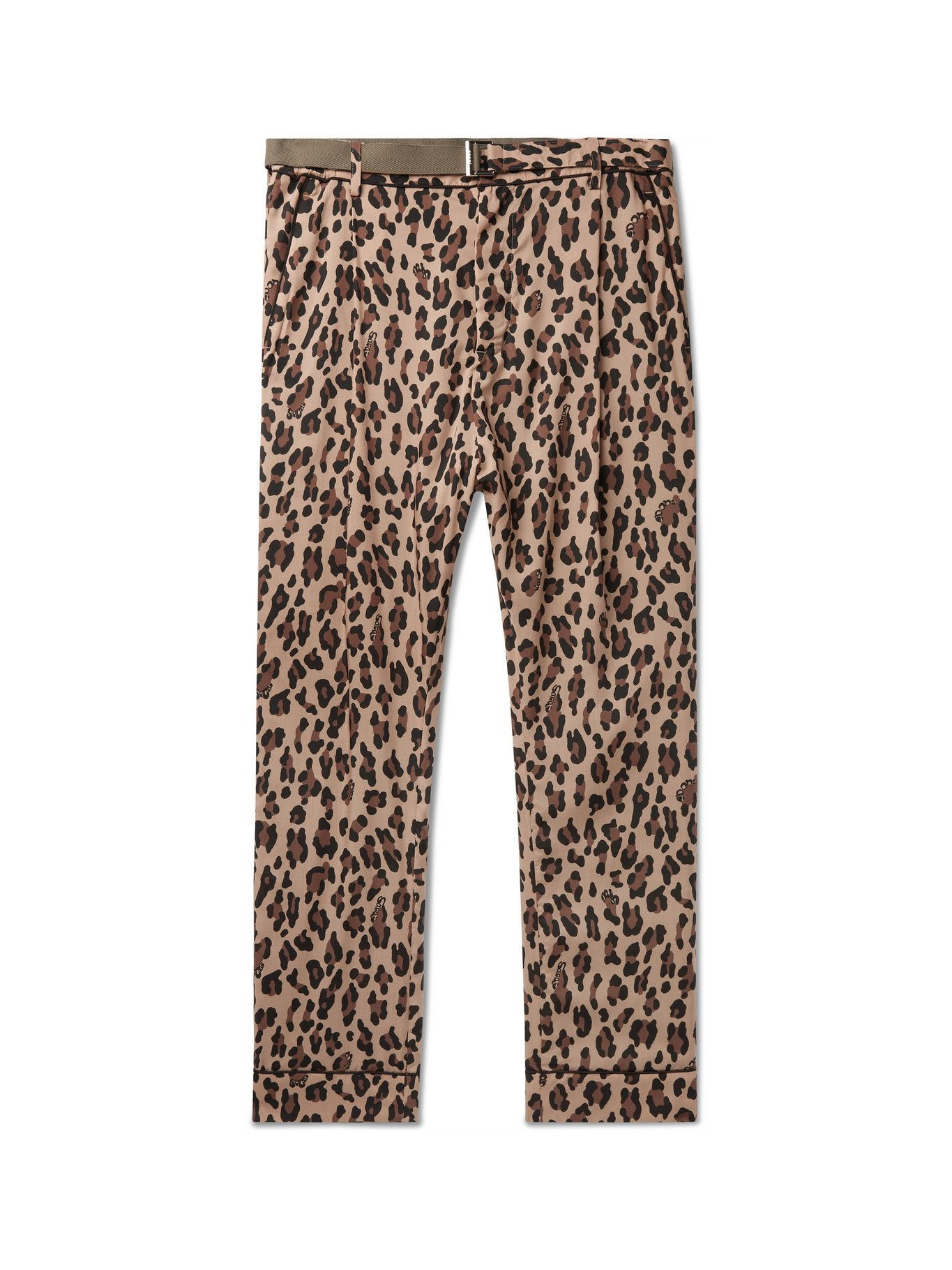 SACAI - Tapered Belted Leopard-Print Woven Trousers - Neutrals