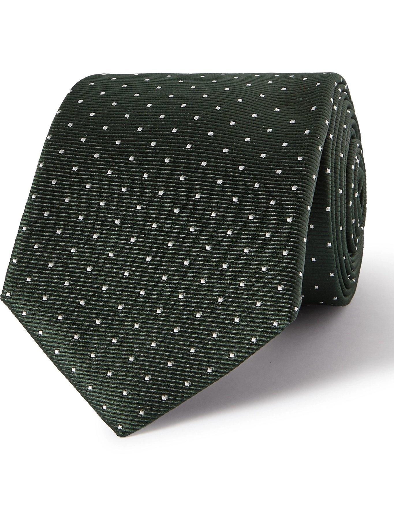 Photo: LANVIN - 7cm Pin-Dot Silk-Faille Tie - Green