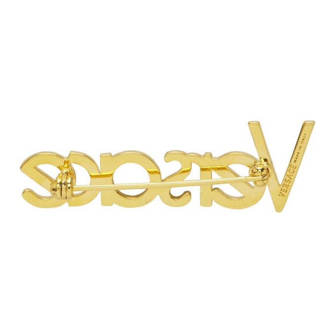 Versace Gold Logo Brooch