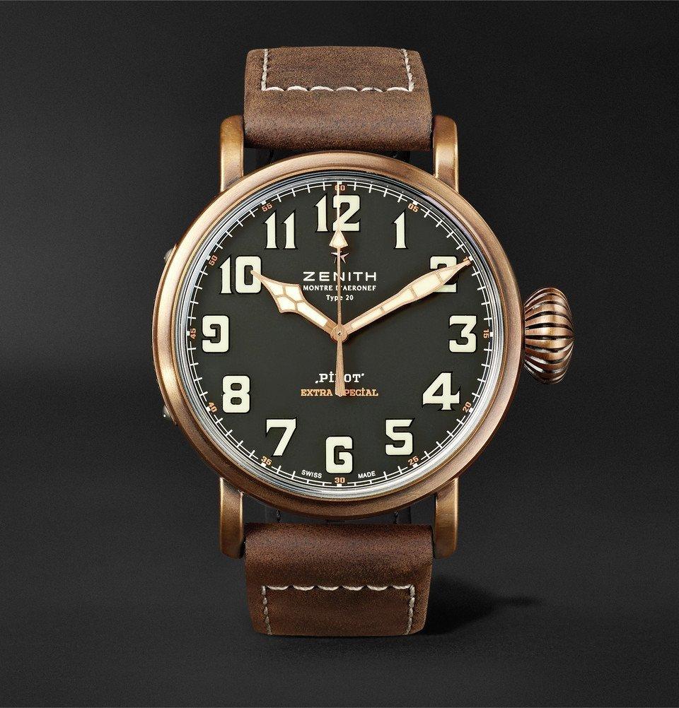 Photo: Zenith - Pilot Type 20 Extra Special 45mm Bronze and Nubuck Watch - Black