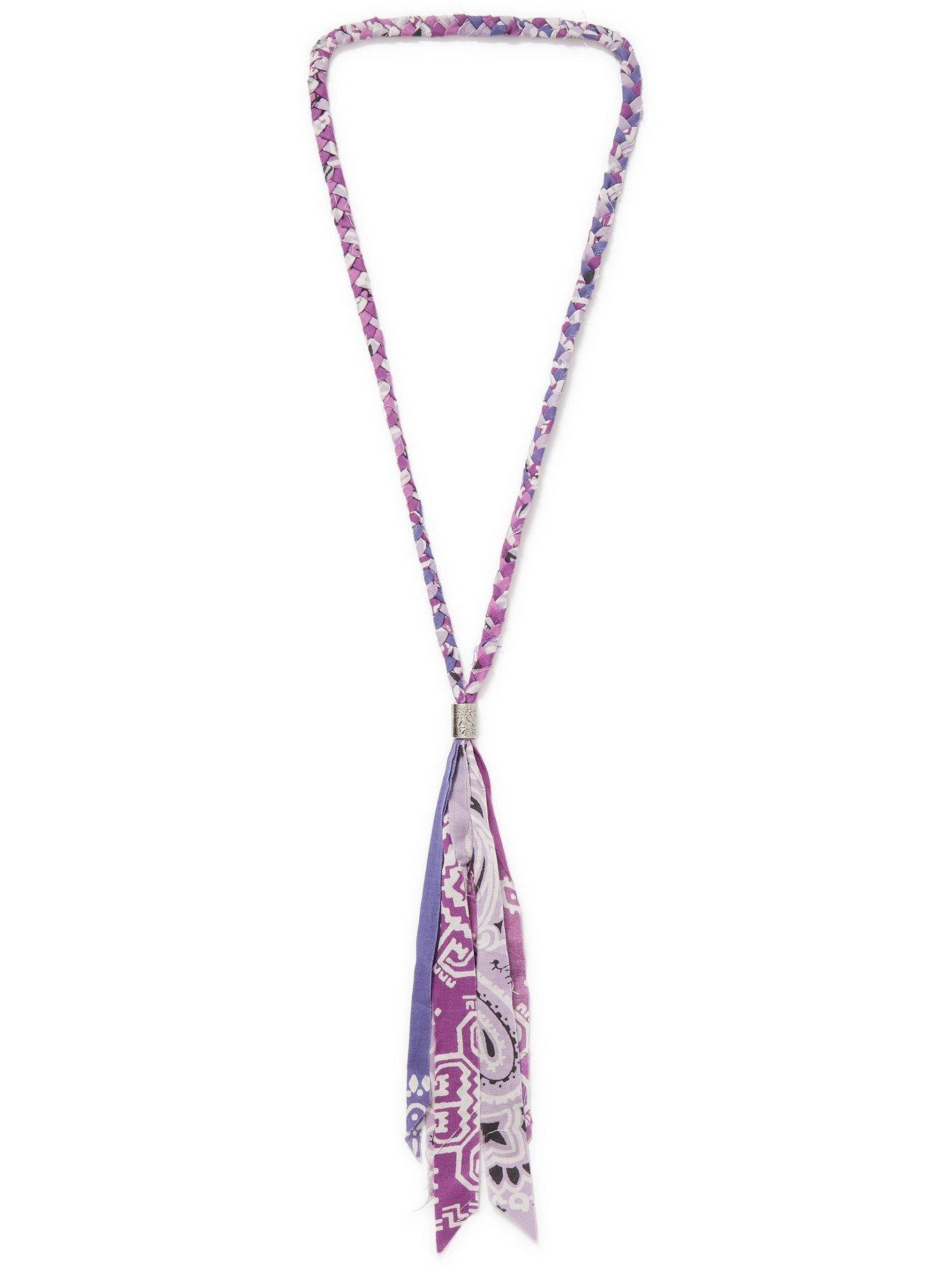 KAPITAL - Fringed Bandana-Print Cotton-Gauze Necklace - Purple