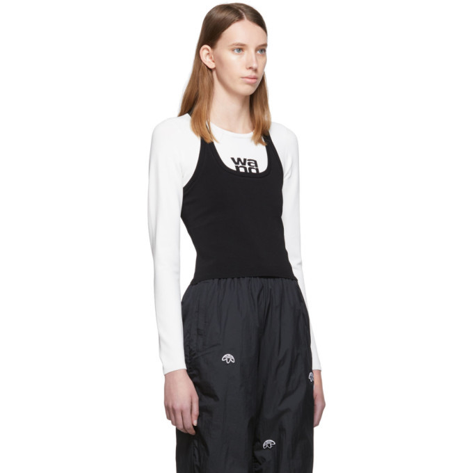 alexanderwang.t White and Black Sport Layering Logo Long Sleeve T-Shirt