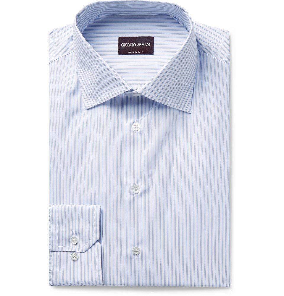 Giorgio Armani - Slim-Fit Blue Pinstriped Cotton-Poplin Shirt - Men - Blue
