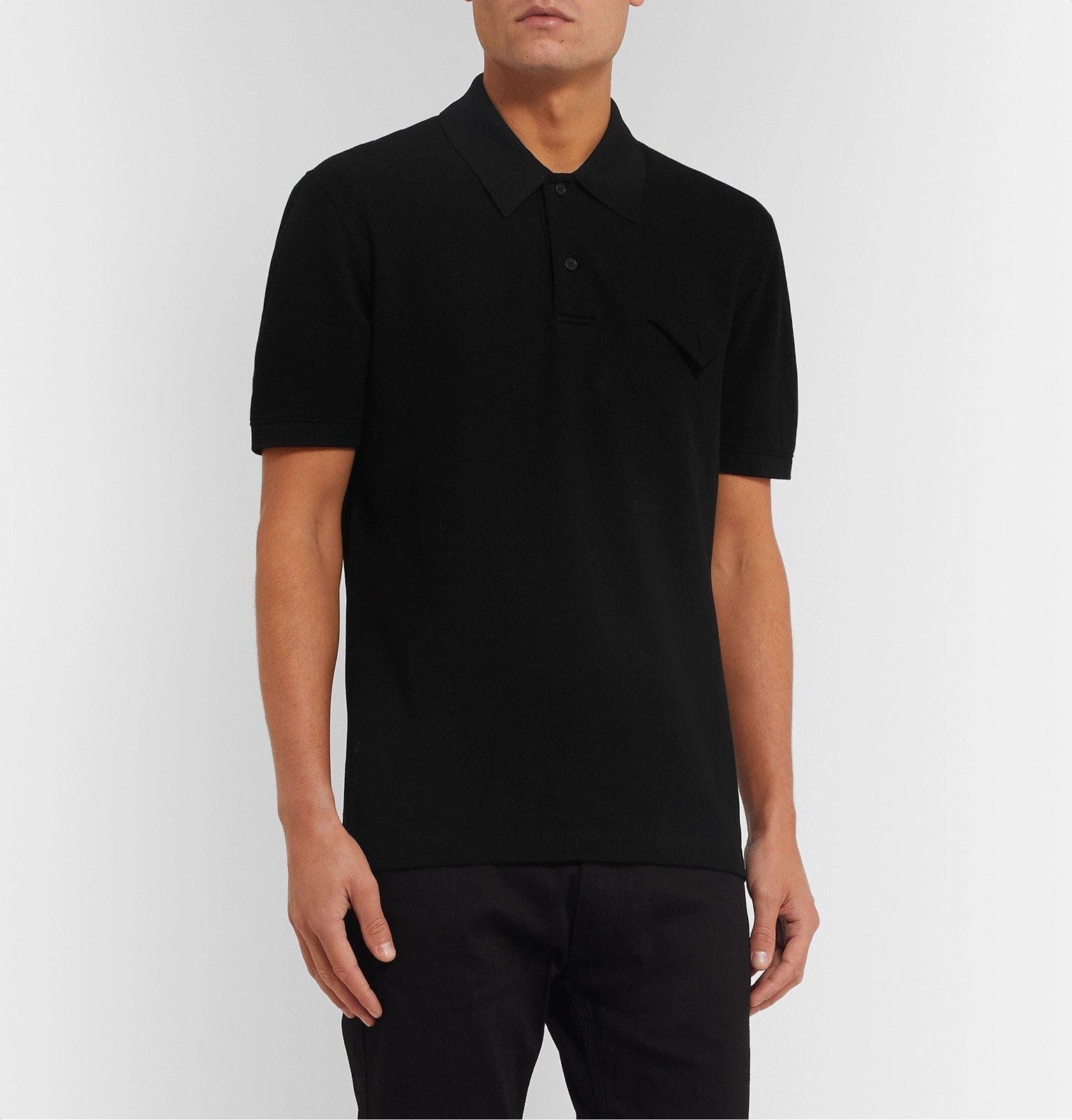 Bottega Veneta - Cotton-Piqué Polo Shirt - Black