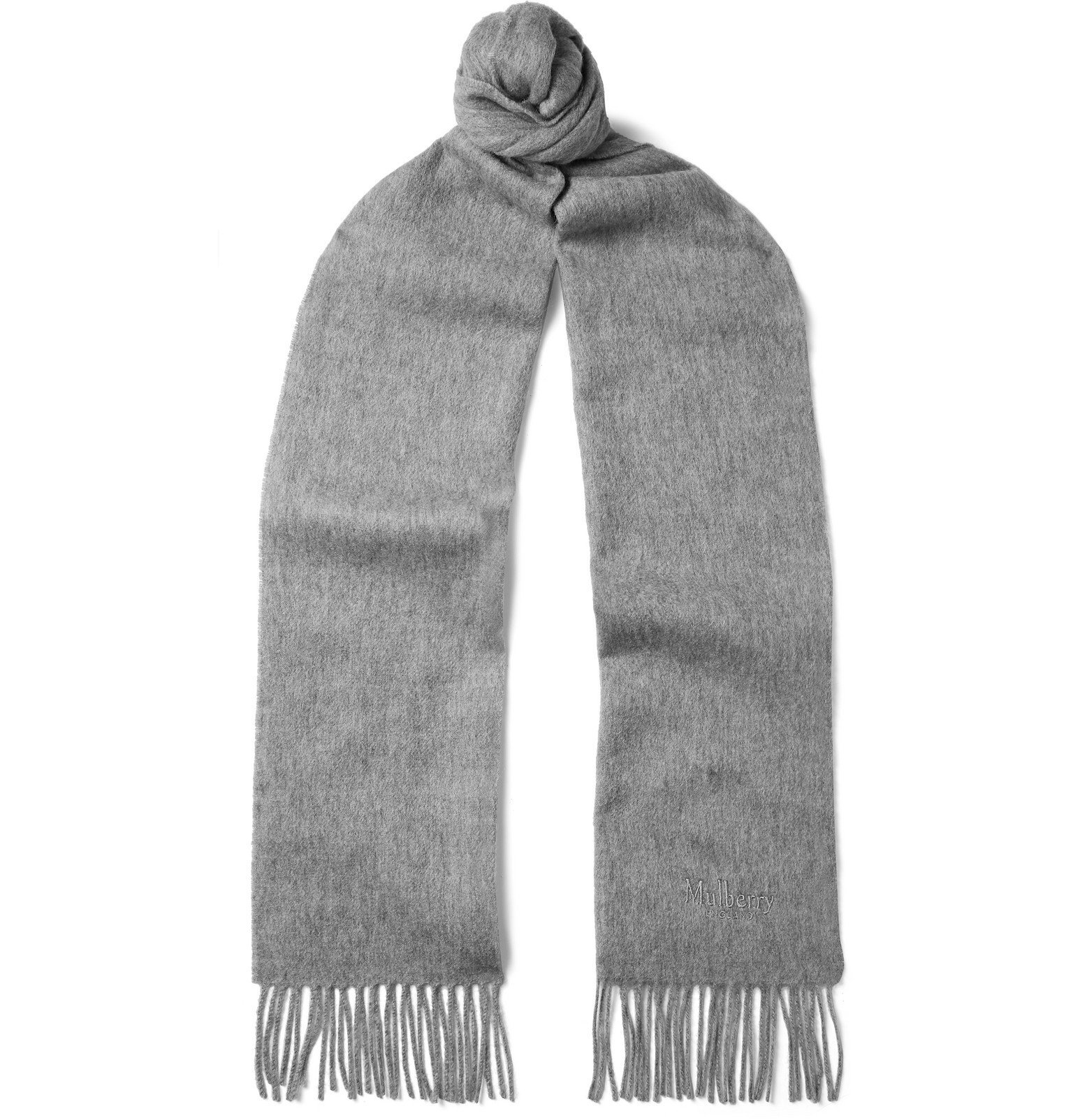 Photo: Mulberry - Fringed Logo-Embroidered Mélange Lambswool Scarf - Gray