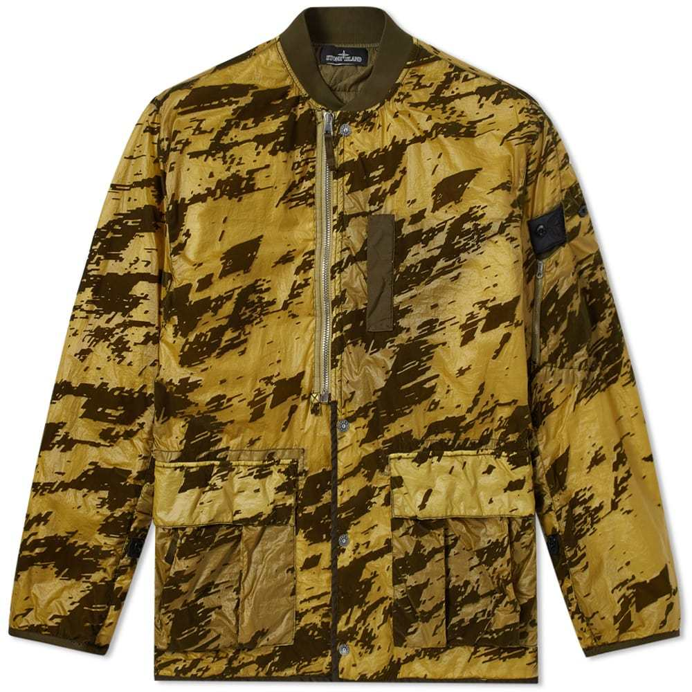 Photo: Stone Island Shadow Project Lucid Flock Garment Dyed Bomber Jacket Green