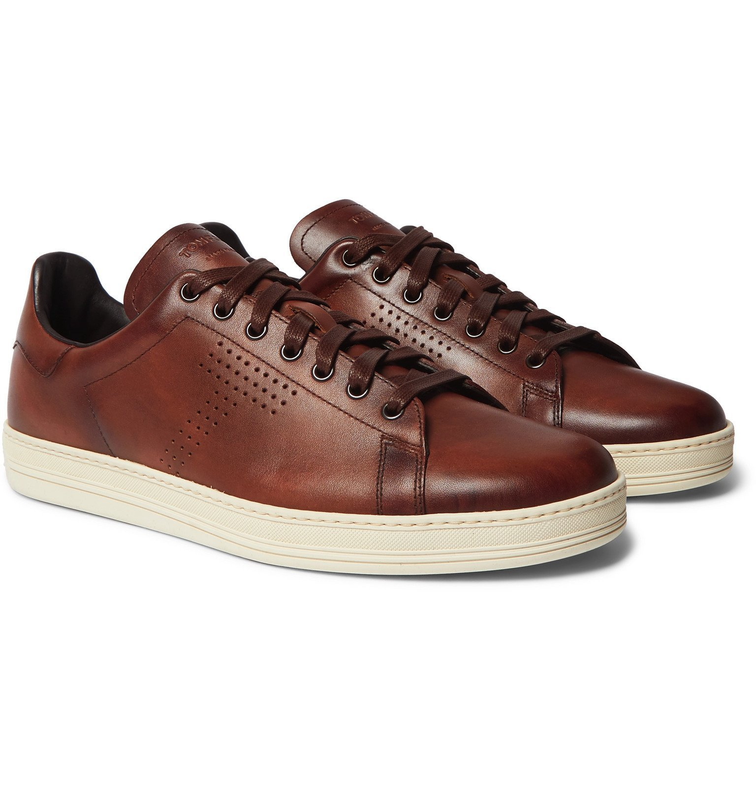 Photo: TOM FORD - Warwick Perforated Leather Sneakers - Brown