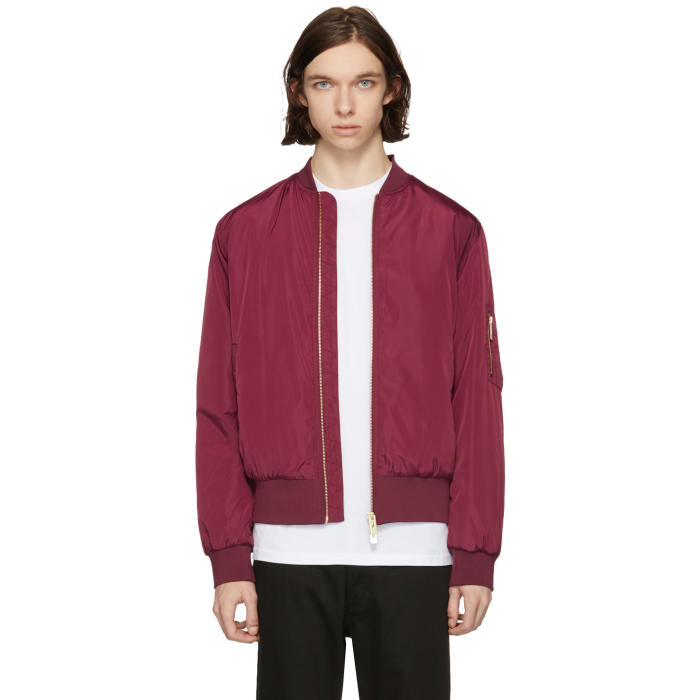 Photo: Han Kjobenhavn Burgundy Nylon Bomber Jacket