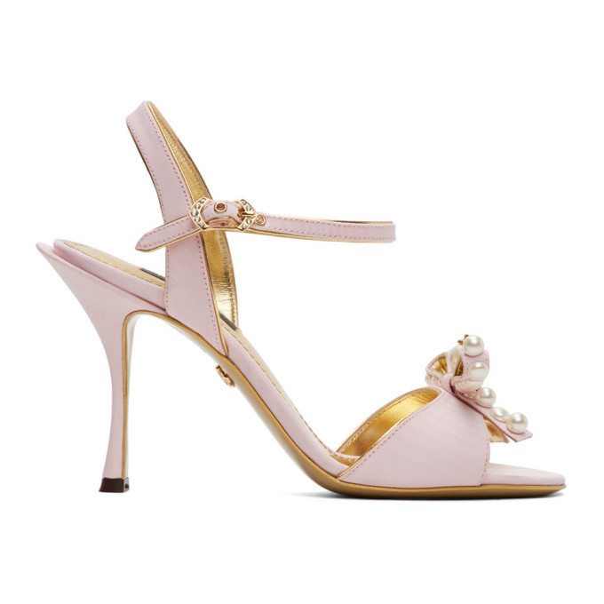 Photo: Dolce and Gabbana Pink Bow Tie Strap Heeled Sandals