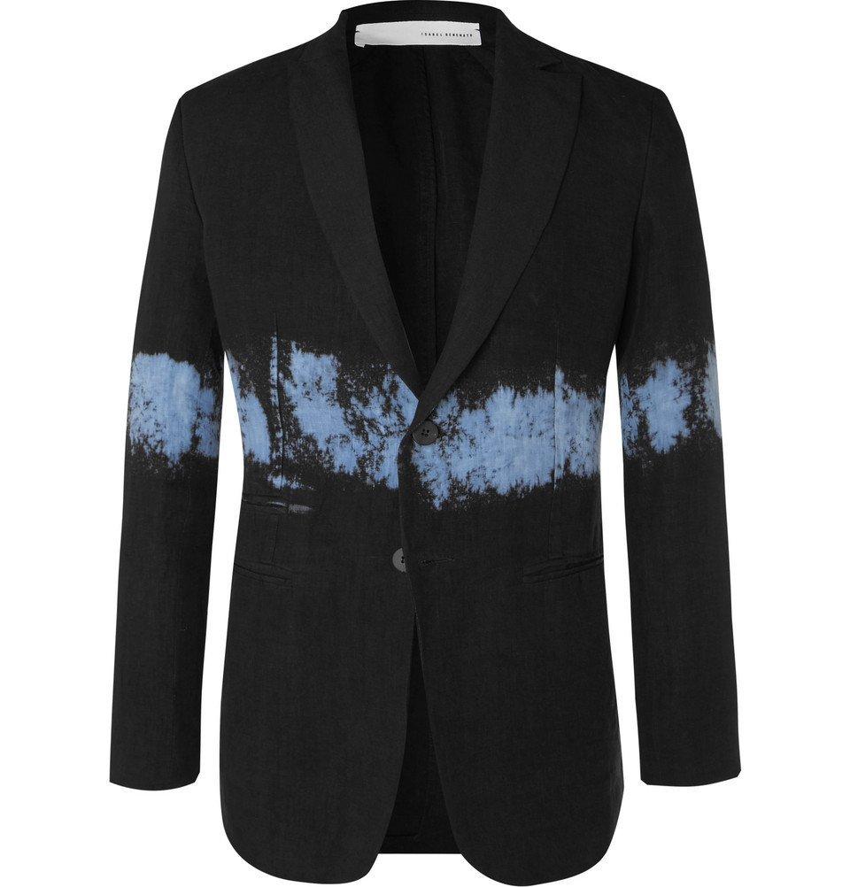 Photo: Isabel Benenato - Black Slim-Fit Dip-Dyed Unstructured Linen Blazer - Black