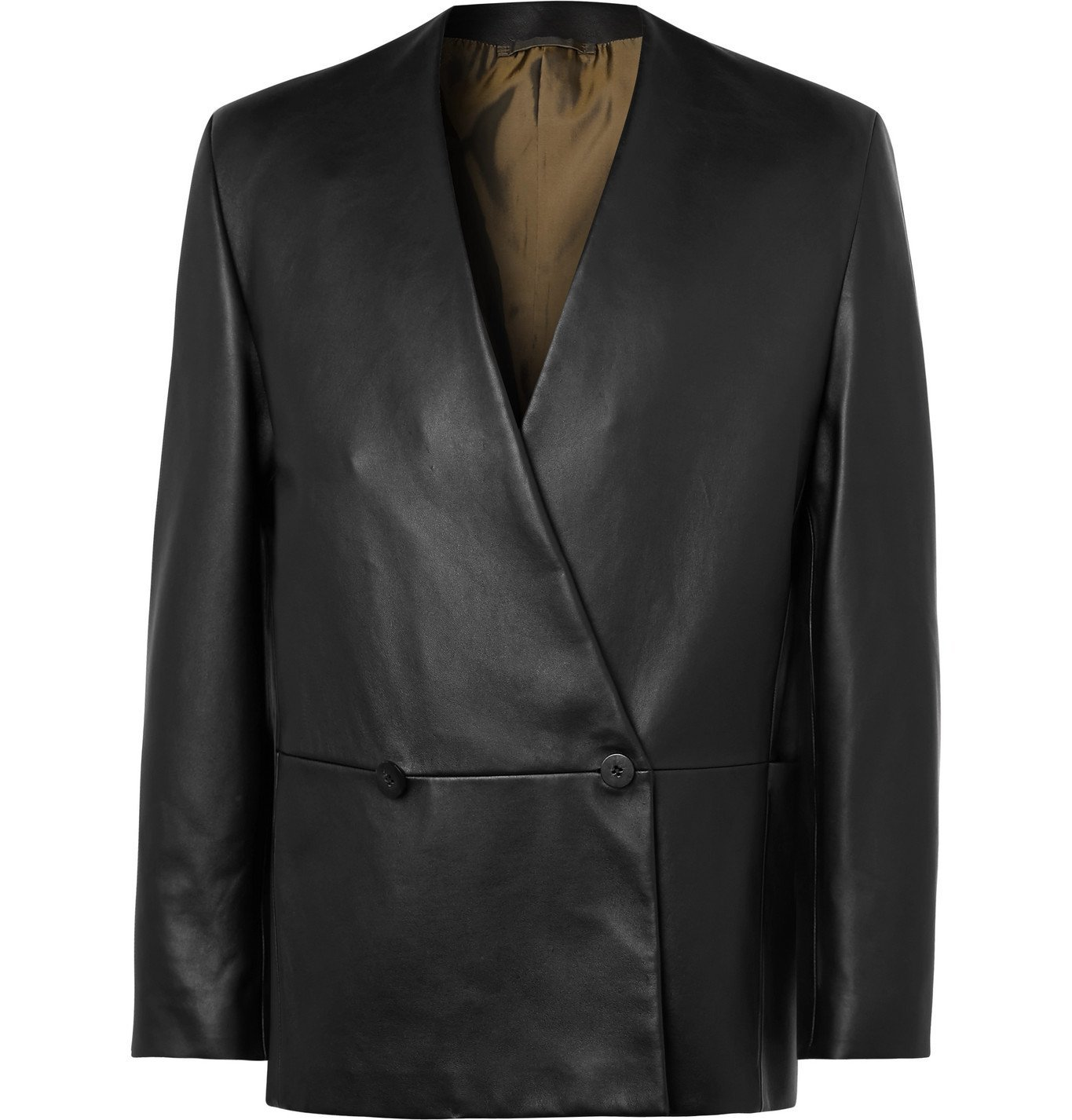 Photo: Fear of God for Ermenegildo Zegna - Slim-Fit Double-Breasted Leather Jacket - Black