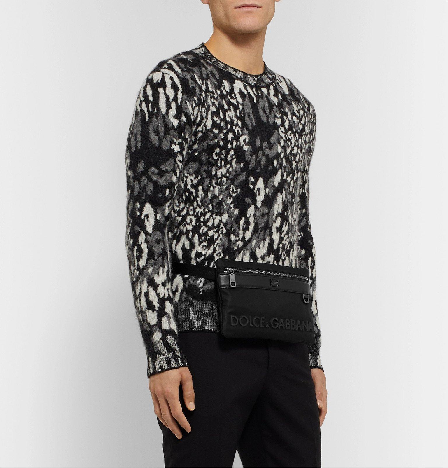 Dolce & Gabbana - Logo-Appliquéd Leather-Trimmed Nylon Belt Bag - Black