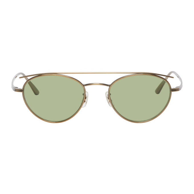 Photo: Oliver Peoples The Row Gold and Green Hightree Sunglasses