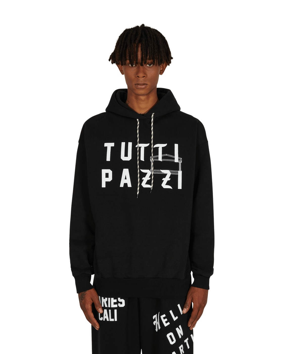 Photo: Aries Collab Nts Tutti Pazzi Hooded Sweatshirt Black