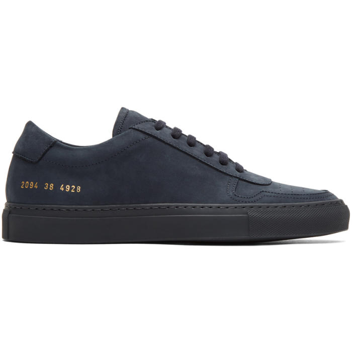 Common Projects Navy Nubuck BBall Low Sneakers