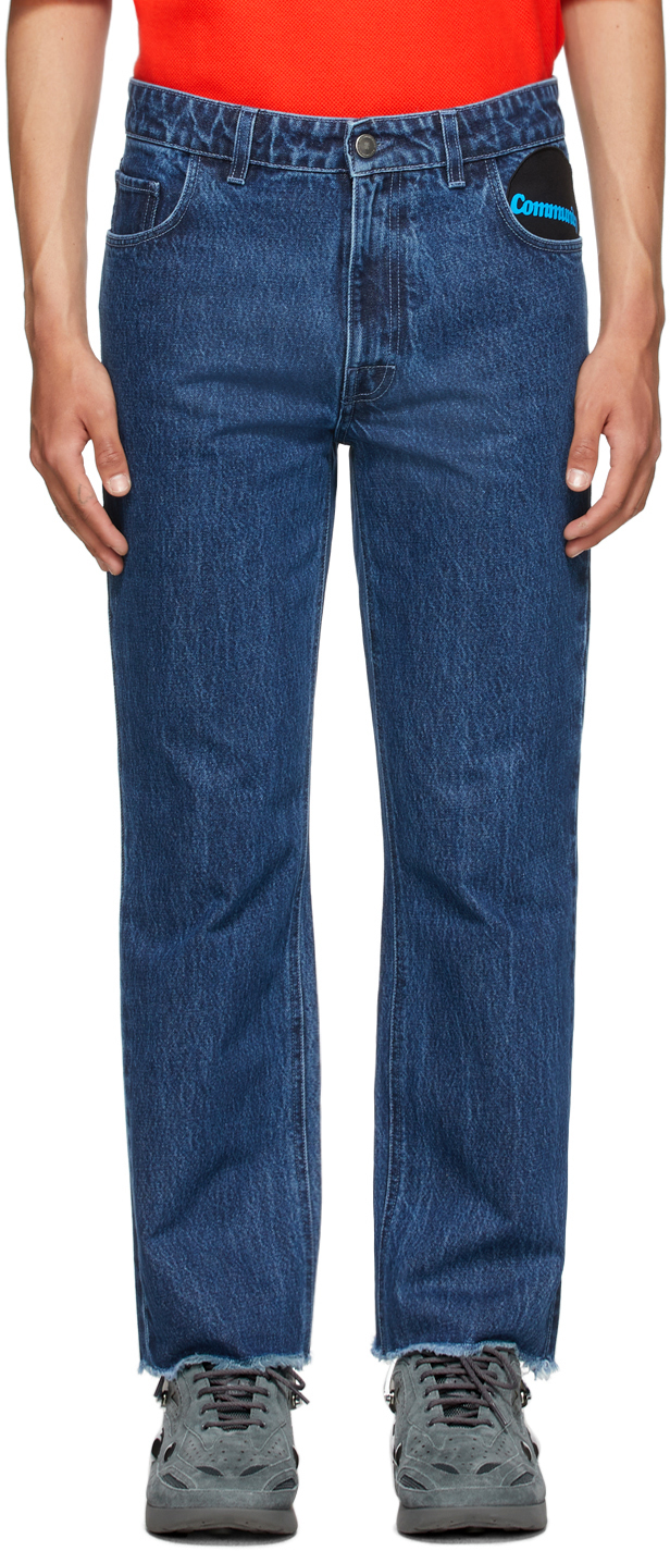 Photo: Raf Simons Blue Graphic Patch Jeans