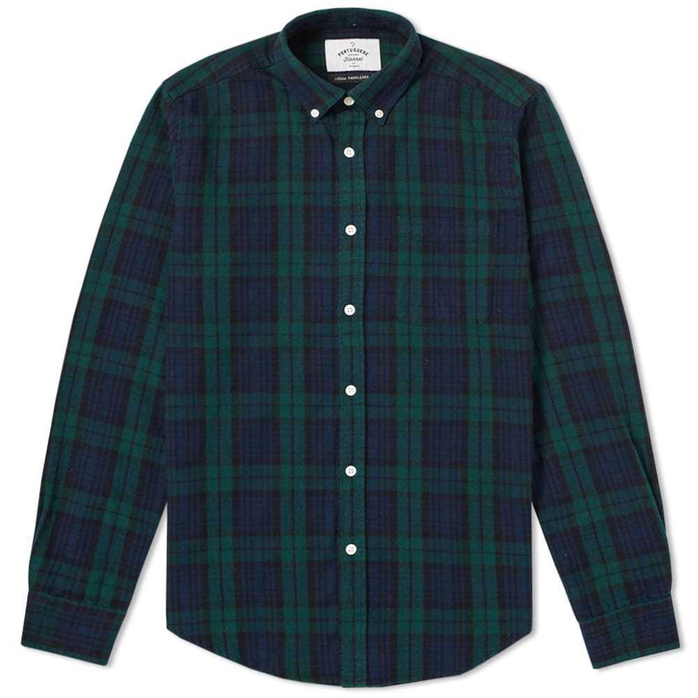 Photo: Portuguese Flannel Bomfin Button Down Check Shirt Green