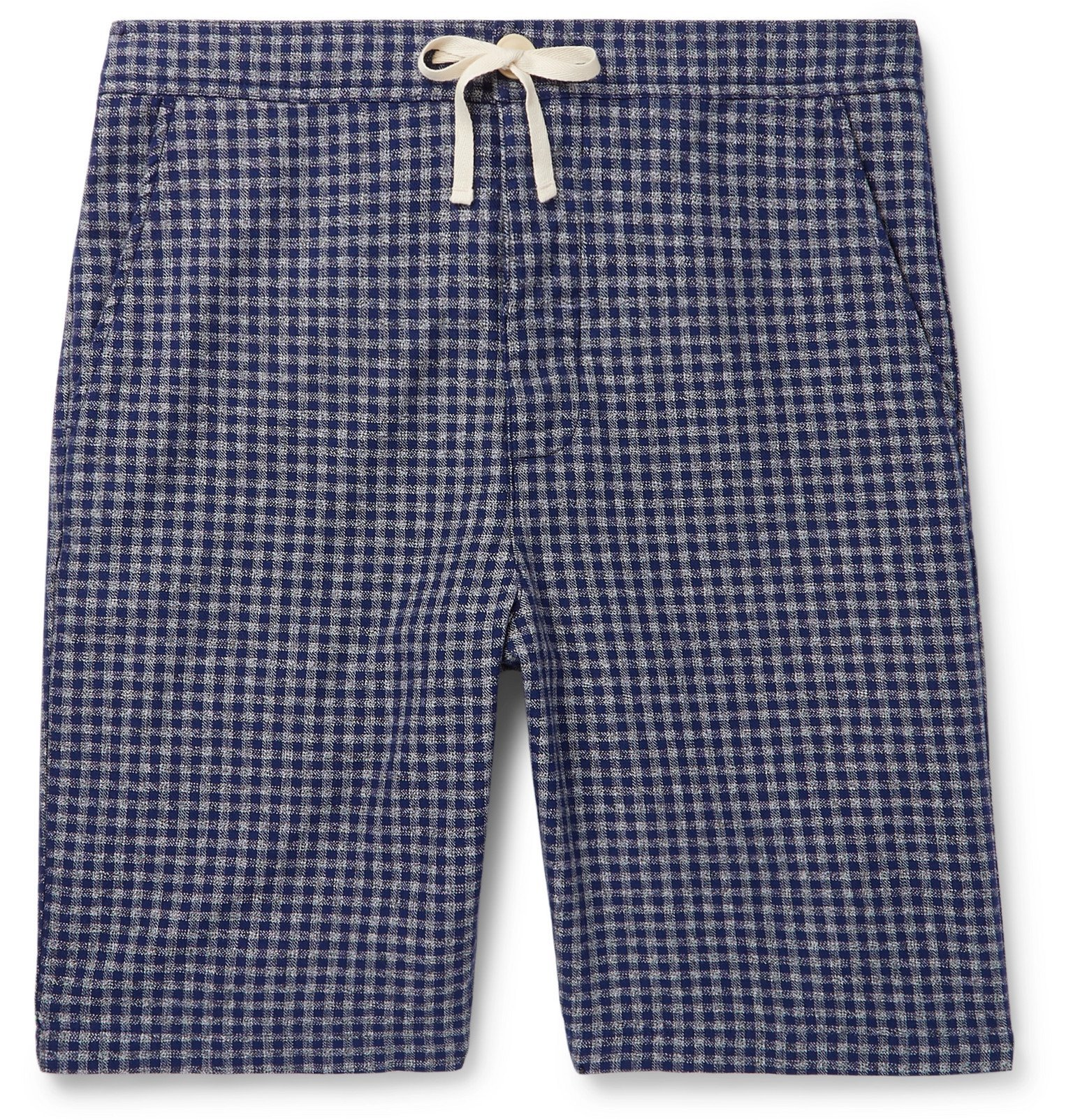 Photo: Oliver Spencer Loungewear - Cannington Gingham Cotton Drawstring Pyjama Shorts - Blue