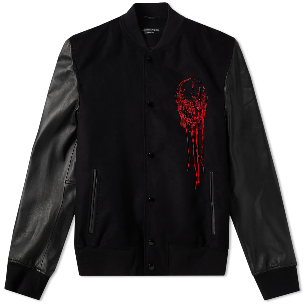 Photo: Alexander McQueen Leather Sleeve Skull Embroidered Bomber Black