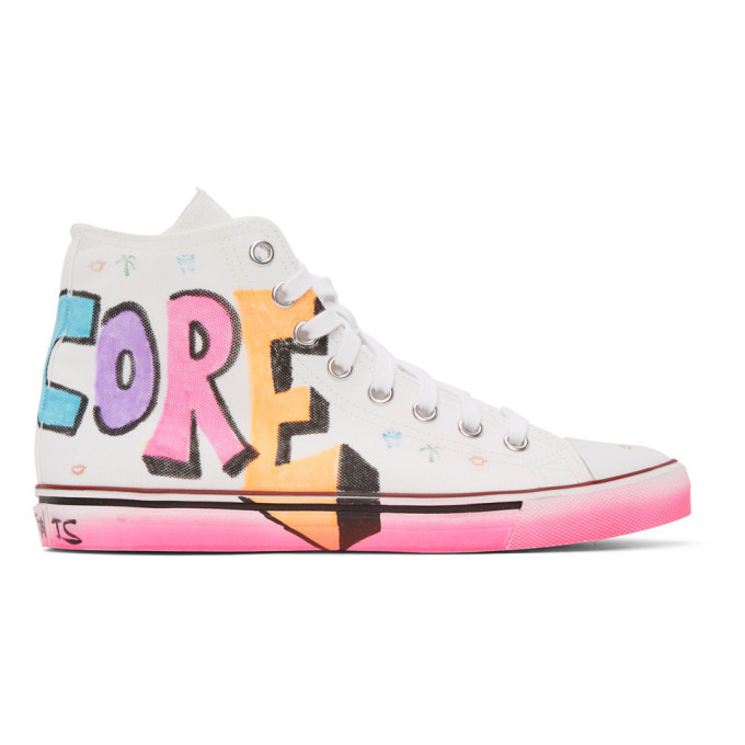 Photo: VETEMENTS White Hardcore Happiness High Top Sneakers
