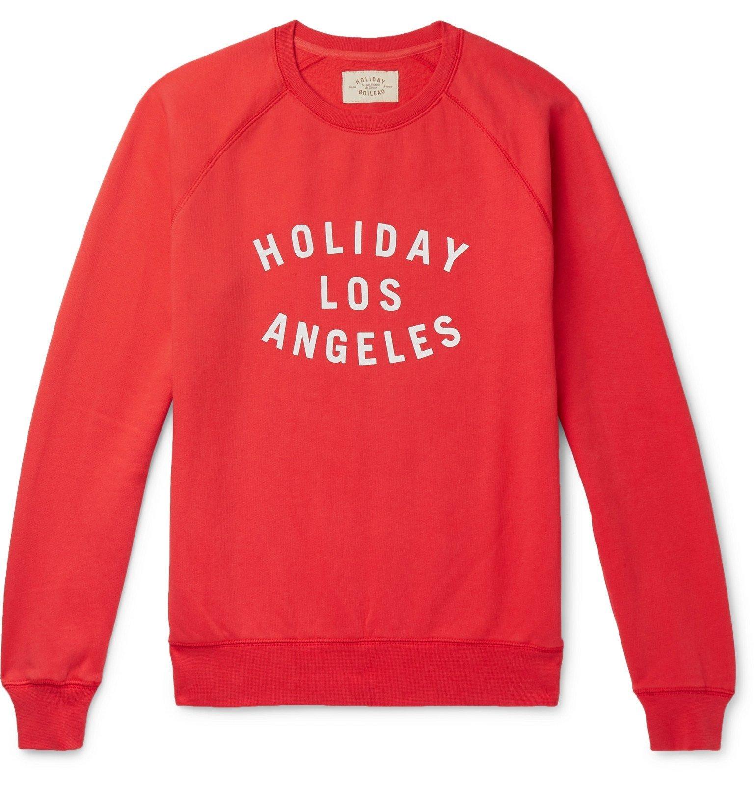 Photo: Holiday Boileau - Texas Printed Fleece-Back Cotton-Jersey Sweatshirt - Red