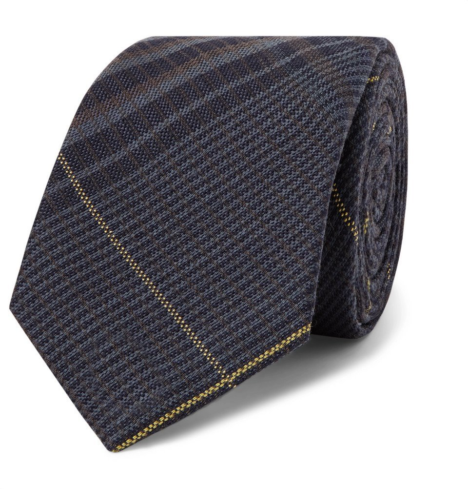 Photo: Berluti - 7cm Checked Wool and Mulberry Silk-Blend Tie - Navy