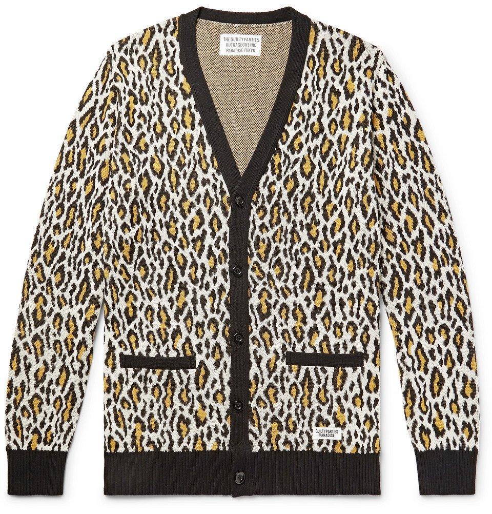 Photo: Wacko Maria - Leopard-Jacquard Cotton Cardigan - Off-white
