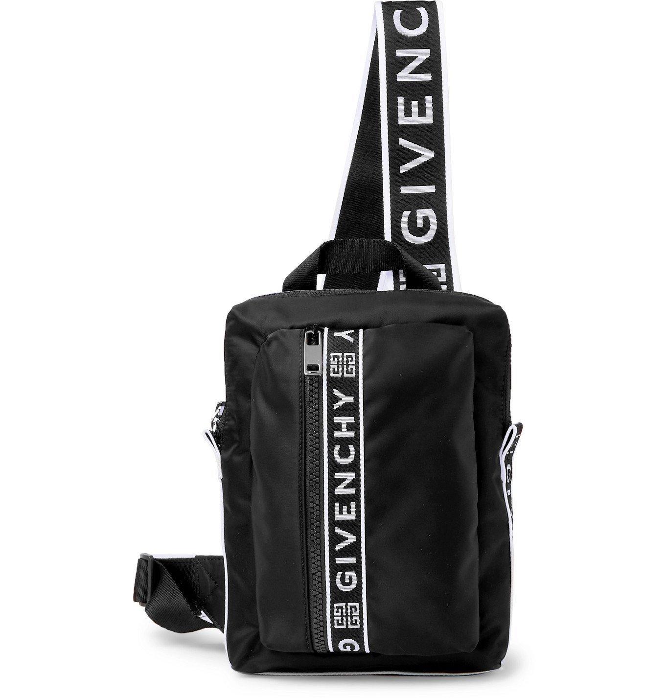 Photo: GIVENCHY - Logo Webbing-Trimmed Shell Messenger Bag - Black