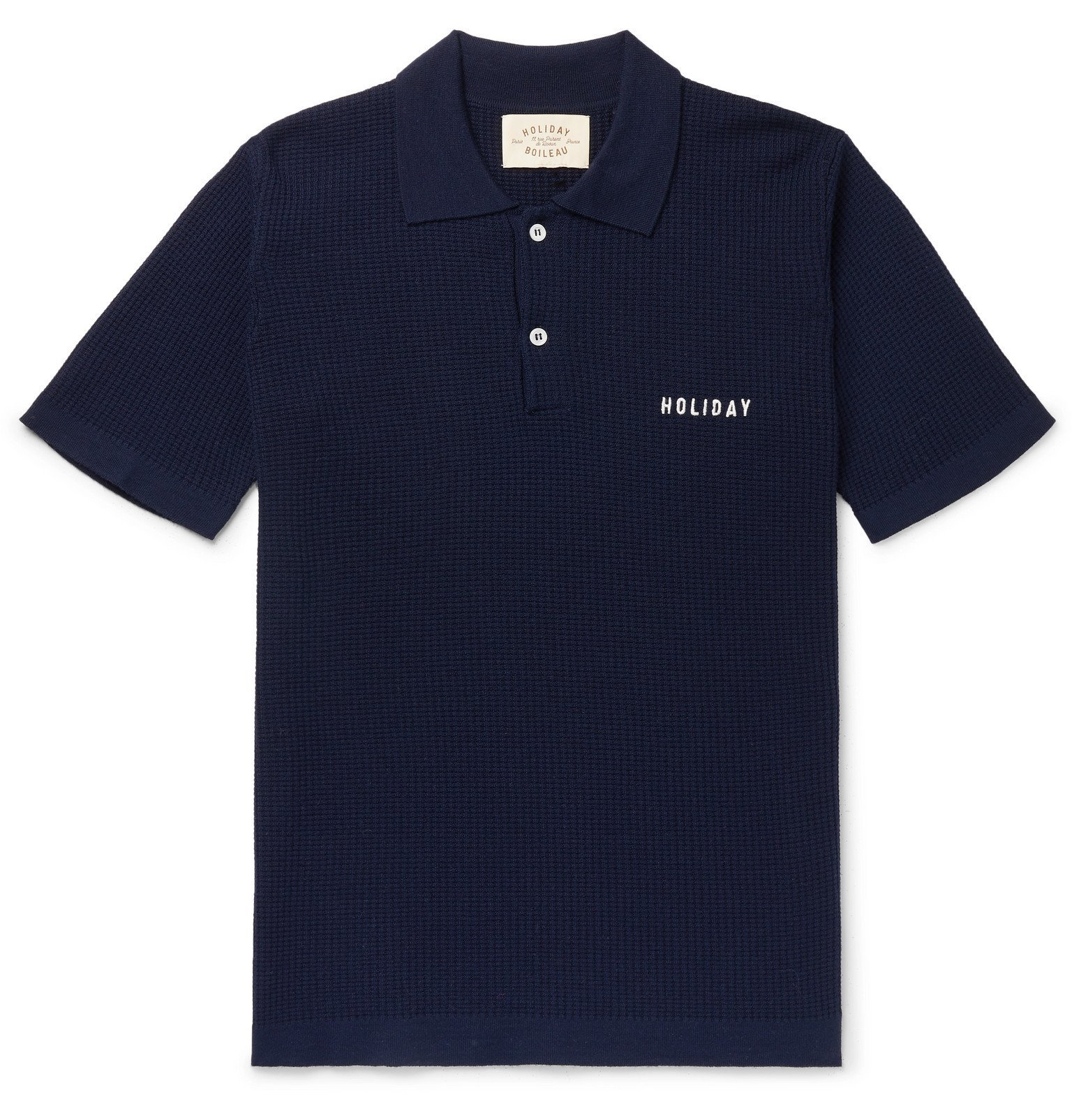 Photo: Holiday Boileau - Slim-Fit Logo-Embroidered Virgin Wool Polo Shirt - Blue