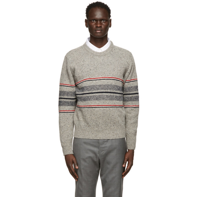 Photo: Thom Browne Grey Mohair Cricket Stripe Sweater