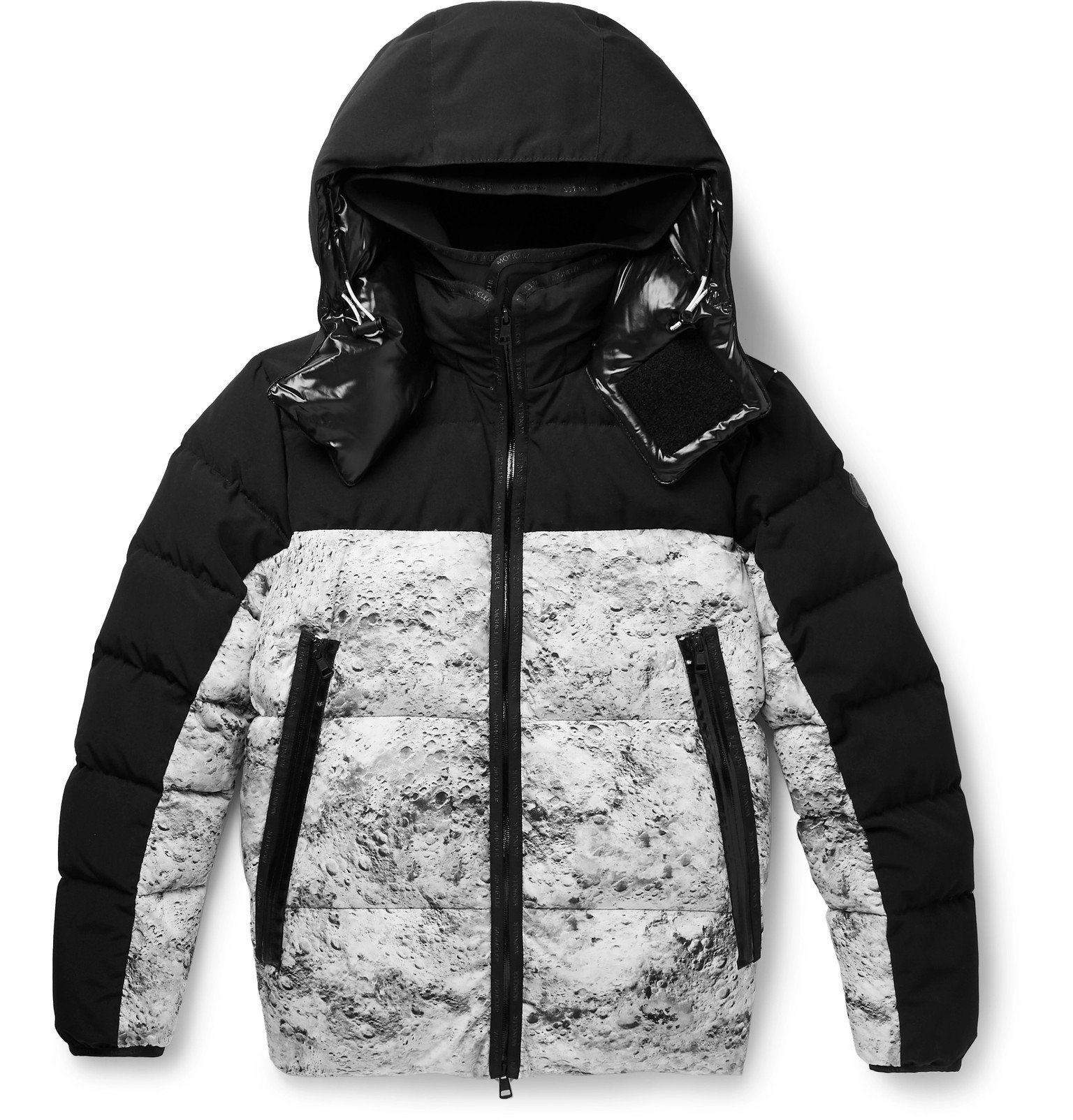Photo: Moncler - Slim-Fit Printed Quilted Shell Hooded Down Jacket - Black