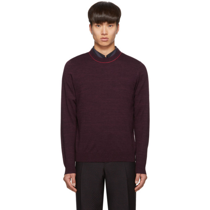 Photo: PS by Paul Smith Purple Knit Crewneck Sweater