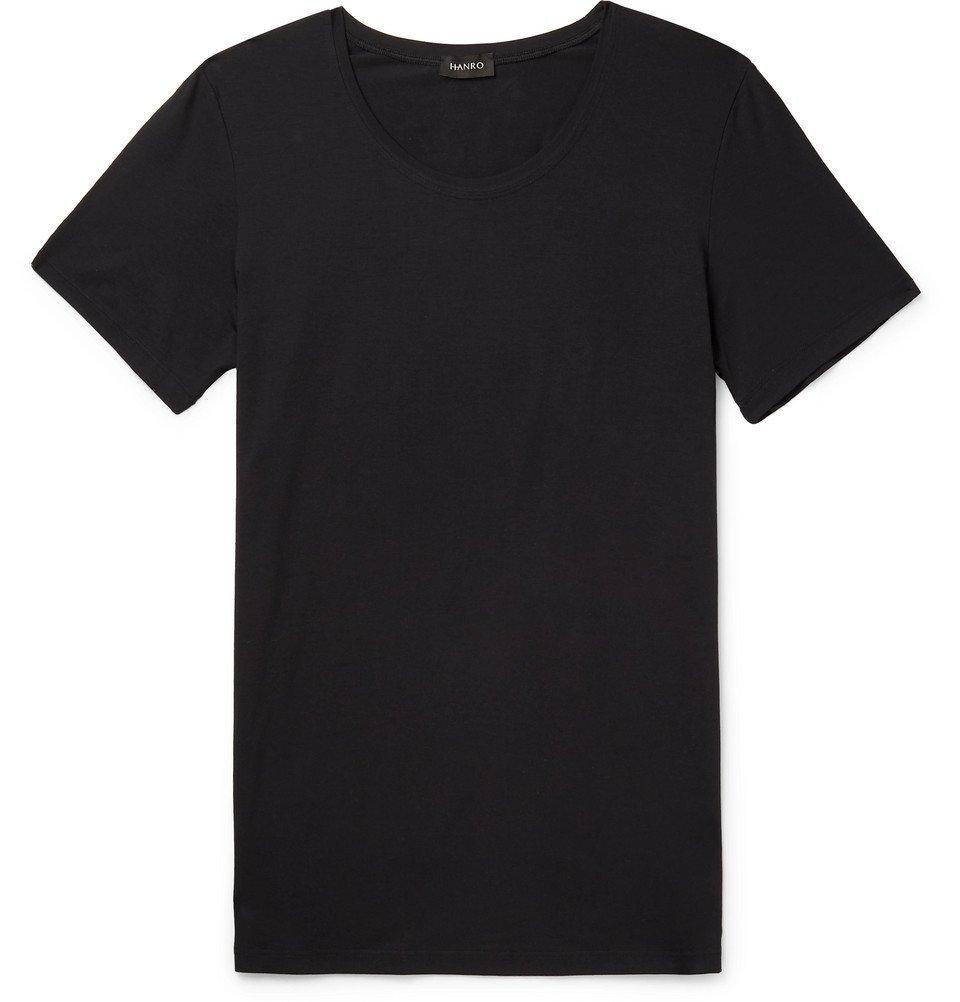 Hanro - Slim-Fit Mercerised Stretch-Cotton Jersey T-Shirt - Black