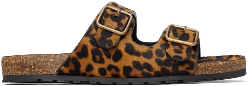 Photo: Saint Laurent Brown Leopard Fabrice Sandals