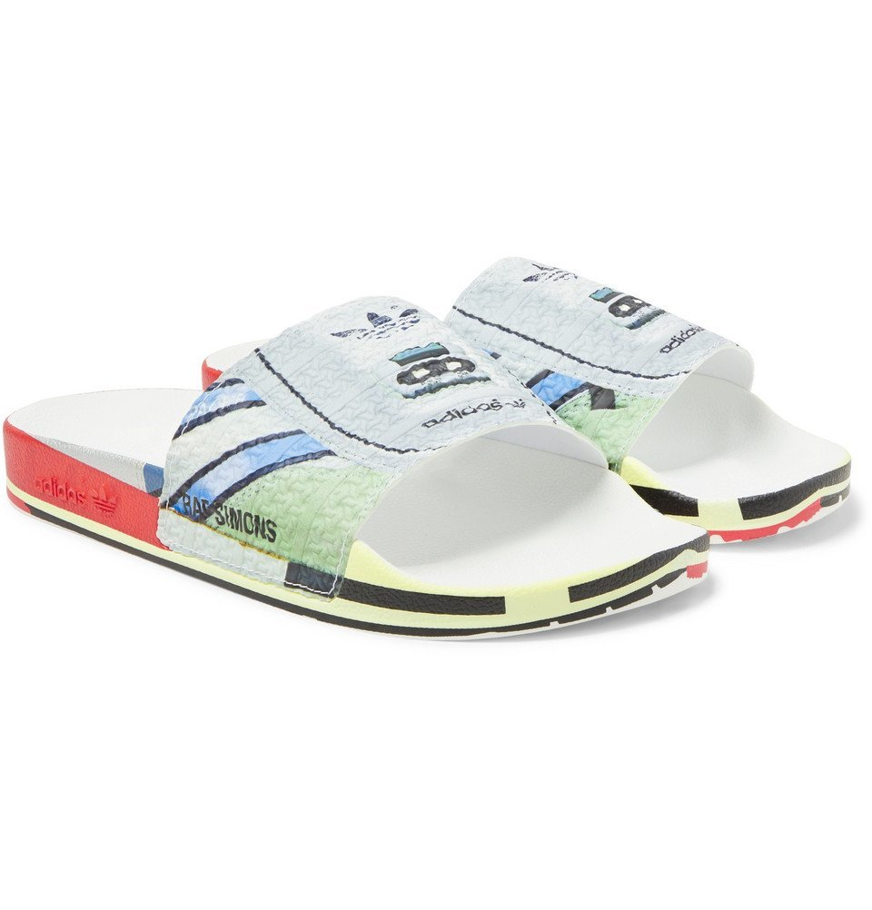 Photo: Raf Simons - adidas Originals Adilette Printed Textured-Rubber Slides - Gray