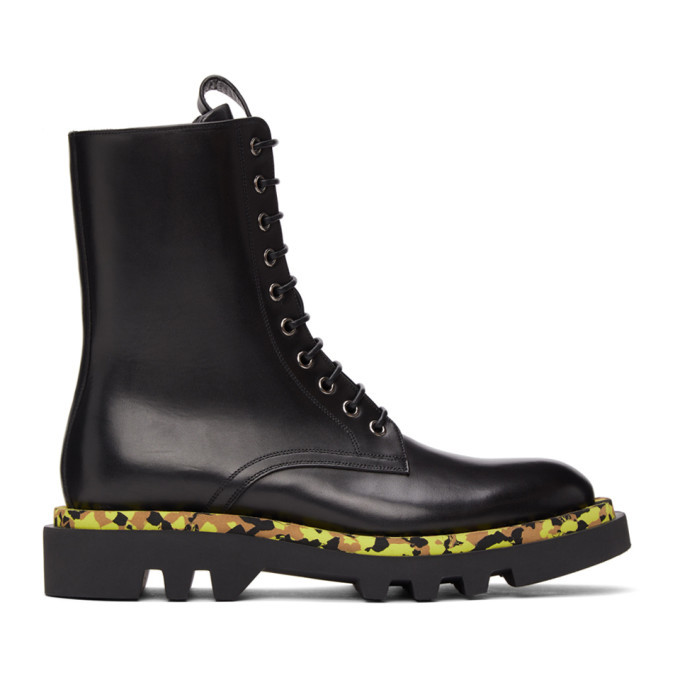 Photo: Givenchy Black Leather Camo Combat Lace-Up Boots