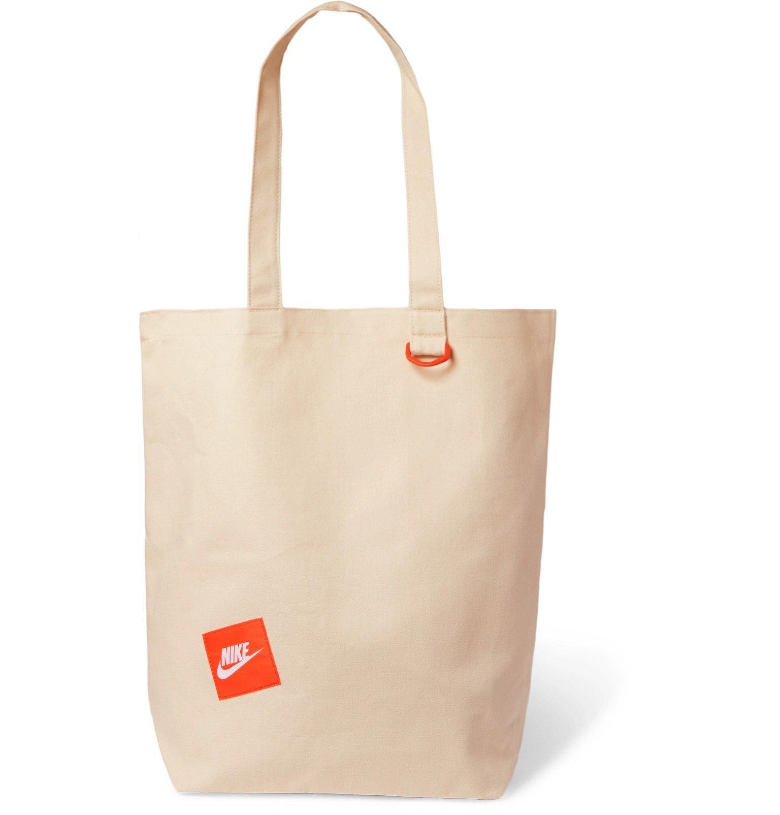 Photo: Nike - Logo-Appliquéd Cotton-Canvas Tote Bag - Neutrals