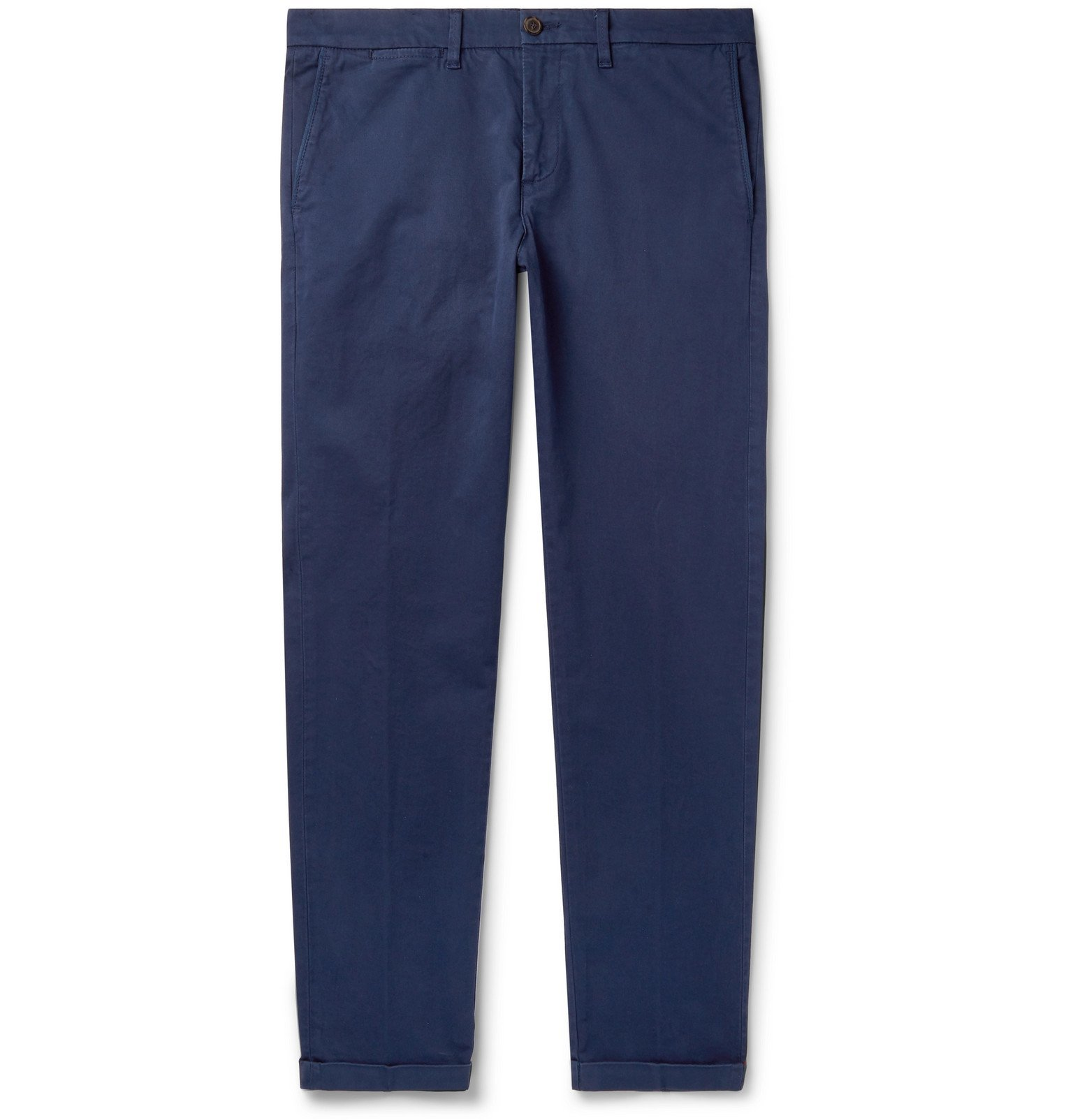 Photo: Tod's - Navy Slim-Fit Stretch-Cotton Twill Chinos - Blue
