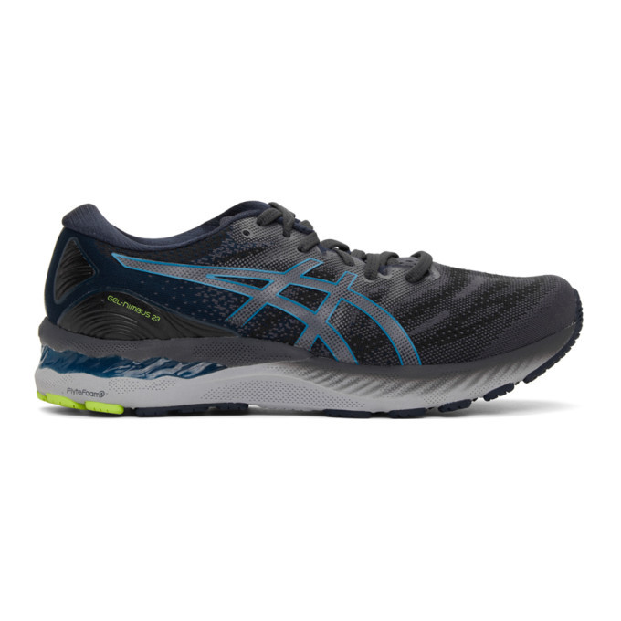 Photo: Asics Grey and Blue Gel-Nimbus 23 Sneakers