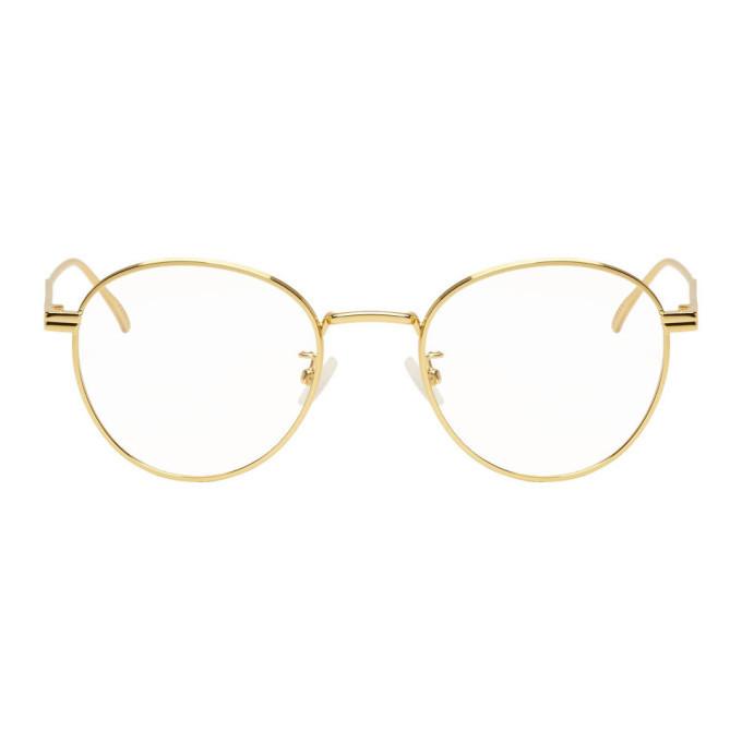Photo: Bottega Veneta Gold Round Glasses